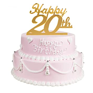 Golden 20th Birthday Cake Topper20th Party Decoration20th Acrylic Topper