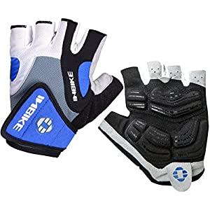 INBIKE Bike Gloves Men Half Finger Bicycle Gloves 5mm Gel Pad Cycling Gloves Blue X-Large