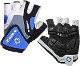 INBIKE 5mm Gel Pad Half Finger Bike Bicycle Cycling Gloves Blue X-Large
