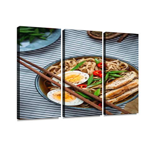 - Ramen Noodle Soup with Egg and Chicken Print On Canvas Wall Artwork Modern Photography Home Decor Unique Pattern Stretched and Framed 3 Piece