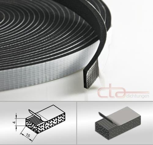 CTA Dichtungen 10m Rolle Moosgummi 15x4 mm EPDM schwarz 1C16-17