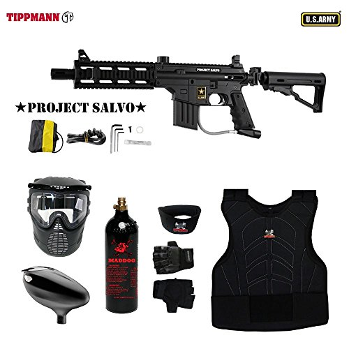 MAddog Tippmann U.S. Army Project Salvo Tactical Beginner Protective CO2 Paintball Gun Package - Black