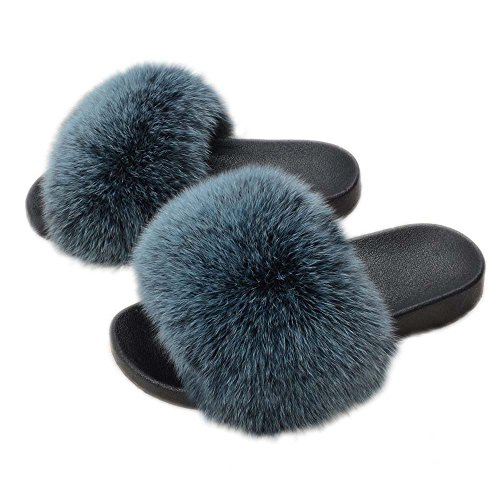 Fox Luxury Soft Flat Max Real Indoor Frosted Sliders Slides Fur Jancoco Outdoor Blue Slippers Fluffy 4xgEwqn