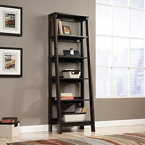 Ladder Bookcase Made in USA The Material is Manufactured Wood in Black Color With 5 Shelves Storage and Organize by eCom Fortune