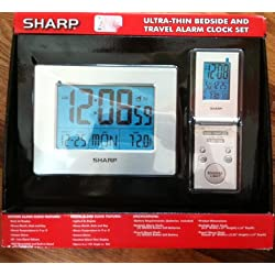 Sharp Electronic Travel Alarm Clock Digital With Temperature