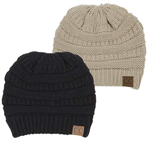 H-6020a-2-0660 Solid Ribbed Beanie Bundle - 1 Black, 1 Beige (2 Pack) (Lightweight Ribbed Beanie)
