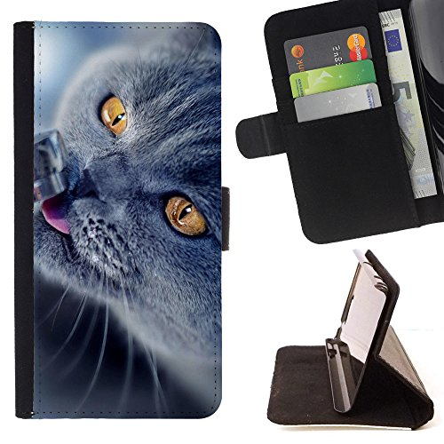 God Garden - FOR Apple Iphone 6 - Cat Drink Water - Glitter Teal Purple Sparkling Watercolor Personalized Design Custom Style PU Leather Case Wallet Fli