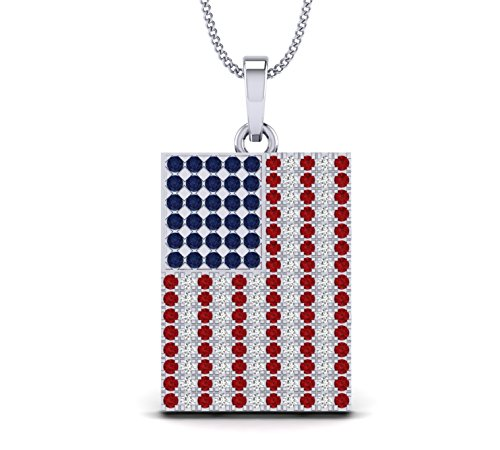 (Fehu Jewel Natural Diamond American Flag Pendant Necklace in 14k White Rose and Yellow Gold (.351 CT, H-I Color, I1-I2 Clarity) for Her)