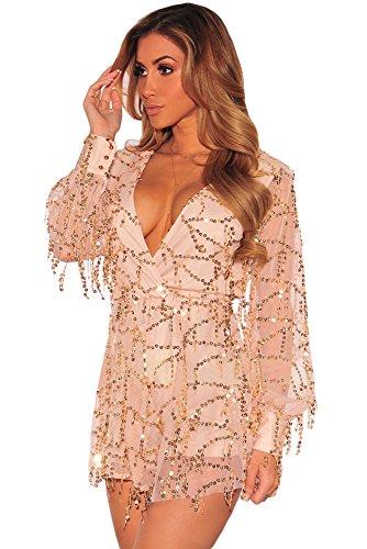 NEW Femme Nude et doré à paillettes Combinaison Grenouillère Pyjama Combinaison Club Wear Taille M UK 10EU 38
