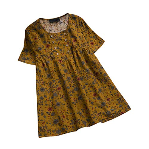 Xinantime Women's Blouse Cotton and Linen Short Sleeve Floral Print O Neck Loose Tops Plus Size M-5XL Yellow