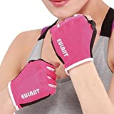 Sborter Half Finger Cycling Gloves, Women Sports Fingerless Gloves Padded Palm Men Summer Breathable Gloves Girls for Road Mountain Bike MTB Fitness Cross Training Weightlifting Hiking,Pink,S