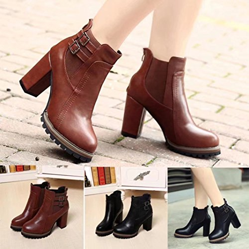 Women High Heels PU Leather Ankle Boots,autumnwind Wedges Heel Shoes Elastic Shoes Autumn Winter Sandals Single shoes Brown