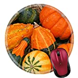 Liili Mouse Pad Natural Rubber Round Mousepad Close up of group small colorful gourds on hay bale Image ID 23242688