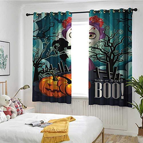 Beihai1Sun Halloween Custom Curtain Cartoon Girl with Sugar Skull Makeup Retro Seasonal Artwork Swirled Trees Boo Great for Living Rooms & Bedrooms W 55