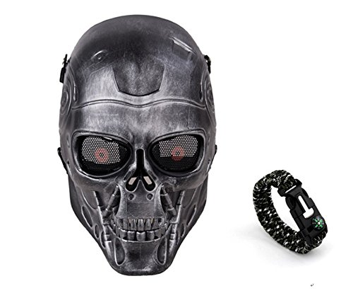 Tech-p Terminator Skeleton Mask - Protective Mask Gear for Use As Tactical Mask & Airsoft and Outdoor Cs War Game Mask - Scary Ghost Mask for Halloween - Silver and Black Cosplay Mask