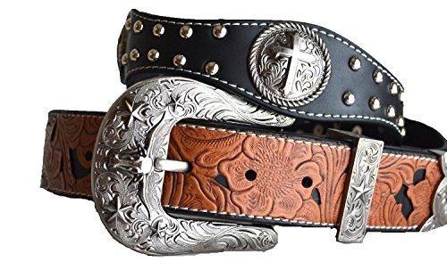 Men western cowboy rodeo cross round concho star longhorn leather bling buckle belt M L XL (XL, - Belt Ranger Floral