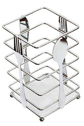 """Utensil Holder Kitchen Flatware Forks Cutlery Storage Organizer Chrome Steel Suqare 3.9""""L x 3.9""""W x 6.3""""H"""