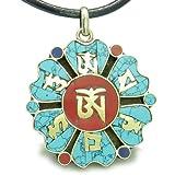 Amulet Tibetan Mantra Ancient Om Mani Padme Hum Medallion Lotus Magic Symbols Pendant Necklace