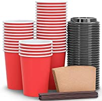 Luckypack Disposable Coffee Cups To Go with Travel Lids Sleeves and Straws 100% Biodegradable & Compostable Pla Eco...