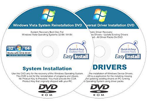 Windows Vista Installation Dvd - Windows Vista 32 & 64 bit Reinstall Install DVD Disc Starter Home Basic Business Ultimate - 2018 Driver DVD Included - 2 Disc Installation Kit