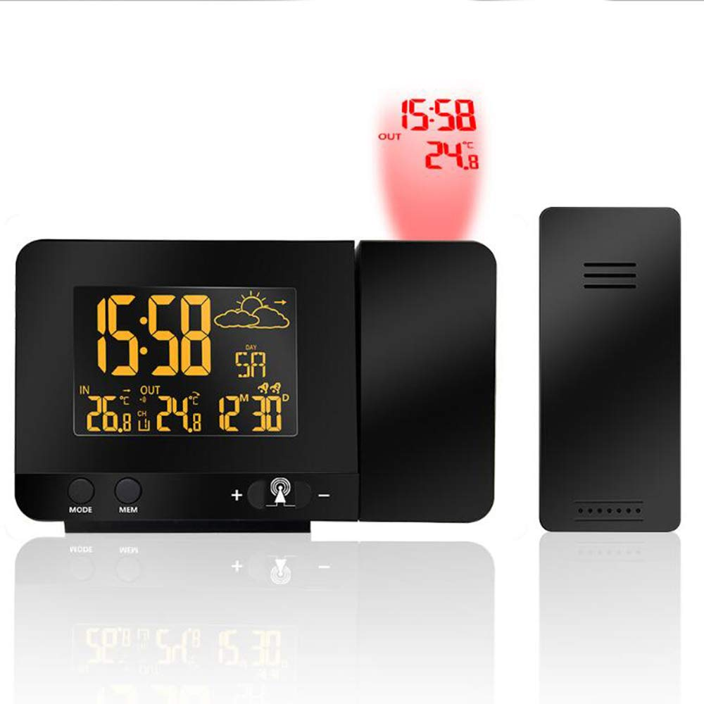 Uhruolo Projection Alarm Clock, Digital Clock Projector with Indoor/Outdoor Thermometer Hygrometer, USB Charging, Colorful Backlight for Bedroom,Europeanspecifications by Uhruolo