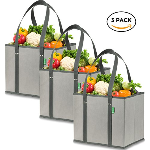 Reusable Grocery Shopping Box Bags (3 Pack - Gray). Large, Premium Quality Heavy Duty Tote Bag Set with Extra Long Handles & Reinforced Bottom. Foldable, Collapsible, Durable & Eco Friendly Large Grocery Tote