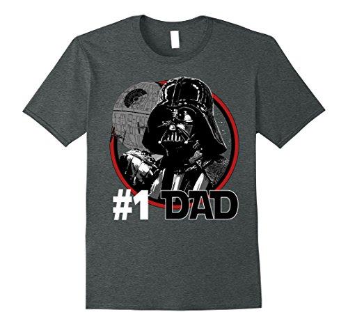 Mens Star Wars Darth Vader #1 Dad Death Star Graphic T-Shirt Large Dark Heather