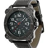 Army Watch [Military Royale] Black Leather Men Quartz Strap Date Display Wrist Sport Luminous, Band 24mm, Square Case