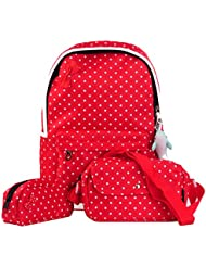 Efreewd Polka Dot 3pcs Kids Book Bag School Backpack Handbag Purse Girls Teen