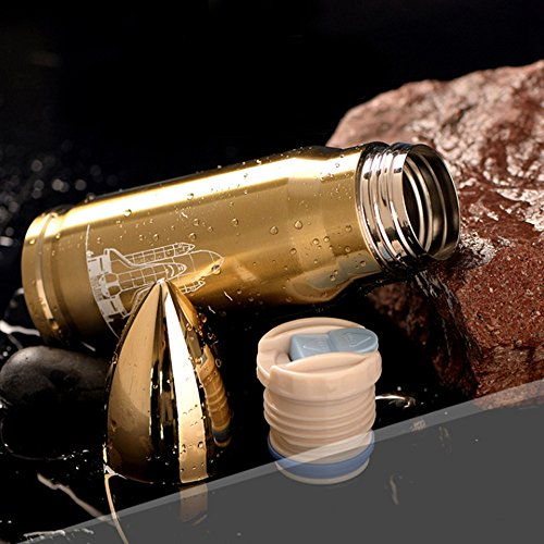 500ML Large Size LANSIN ArmyStyle Fashion Bullet Thermos Garrafa Termica Bottle Camping Hiking Cup (Gold)