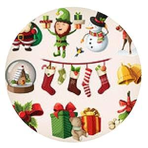 alfombrilla de ratón Conjunto de caracteres de navidad de colores y decoraciones - ronda - 20cm