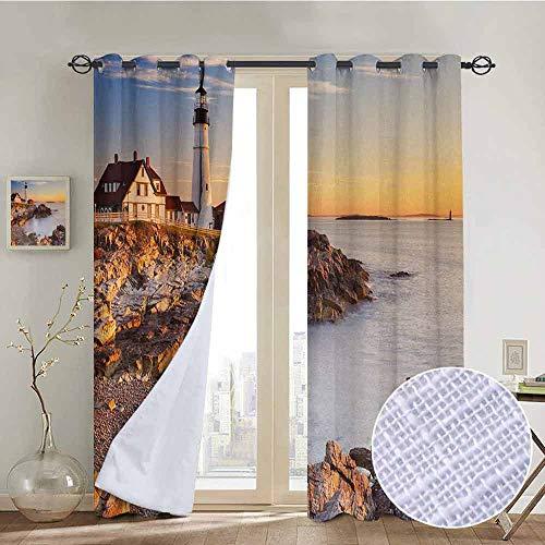 - NUOMANAN Bedroom Curtain United States,Cape Elizabeth Maine River Portland Lighthouse Sunrise USA Coast Scenery,Pale Blue Tan,Insulating Room Darkening Blackout Drapes 84