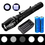 LED Flashlight, X.Store 2000 Lumens T6 Flashlight Black Water Resistant Adjust Focus Flashlight LED Torch with Rechargeable Battery and Charger