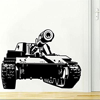 YINGKAI Military Army Tank Living Room Boys Room Vinyl Carving Wall Decal Sticker for Home Window Decoration