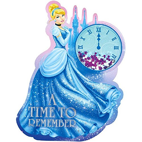 Amscan Girls Disney Cinderella's A Time to Remember Deluxe Jumbo Postcard Party Invitation (8 Piece), Blue, 8