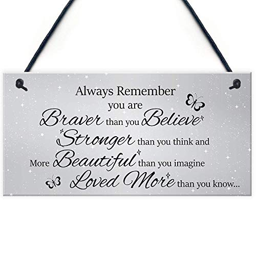 XLD Store Stronger Inspirational Motivational Hanging Plaque Friendship Gifts Quote Sign Butterfly PVC Plaque ()