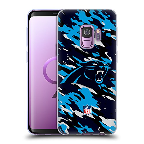 Official NFL Camou Carolina Panthers Logo Soft Gel Case for Samsung Galaxy S9
