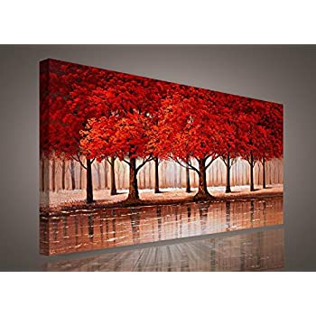 Amazon.com: Canvas Wall Art Red Tree Branches Sunset Forest Nature ...