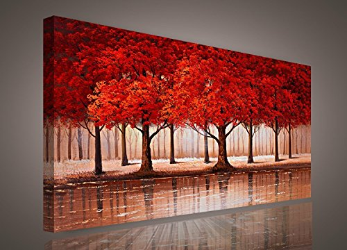 Red Tree wall art Sunset Woods Canvas Painting Pictures Prints Photo Home Decor - Panel Framed Forest Landscape Print on Canvas Ready to Hang Modern Artwork for Kitchen Office Home (Wood Framed Print Set)