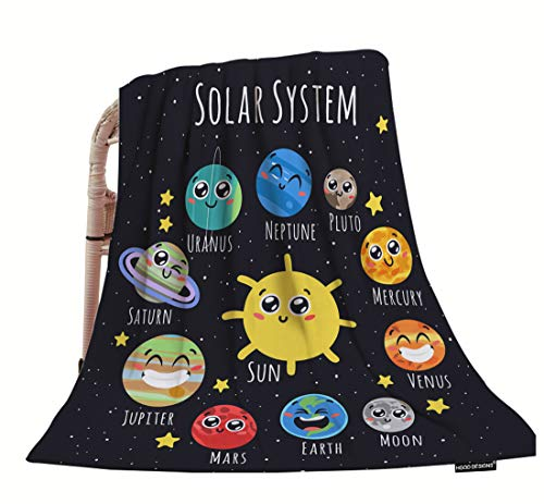 HGOD DESIGNS Space Throw Blanket,Cute Solar System Sun Moon Pluto and Planets On Space Soft Warm Decorative Throw Blanket for Baby Toddler or Pets Cat Dog 30