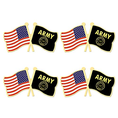 (ALEY 4 Pack US Army Gold Crest Flag Pin Small Mini United States Military Flags Lapel Pins,Decorations Supplies for Army Party Events Celebration)