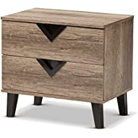 Baxton Studio Nightstands, 2-Drawer Nightstand, Light Brown