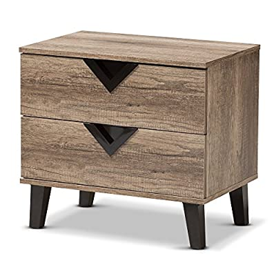 Baxton Studio Nightstands, 2-Drawer Nightstand, Light Brown - Modern and contemporary style Nightstand Finishing: distressed oak PU veneer Two drawers - nightstands, bedroom-furniture, bedroom - 51tj6ndF6gL. SS400  -