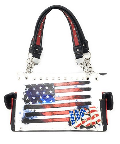 Western Carry American White Usa Flag Concealed purse Women's Handbag Rhinestone r5qUra