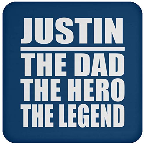 e Dad The Hero The Legend - Drink Coaster Royal/One Size, Non Slip Cork Back Protective Mat, Best Funny Gag Gift Idea for Father B-Day Men Birthday Christmas Anniversary ()