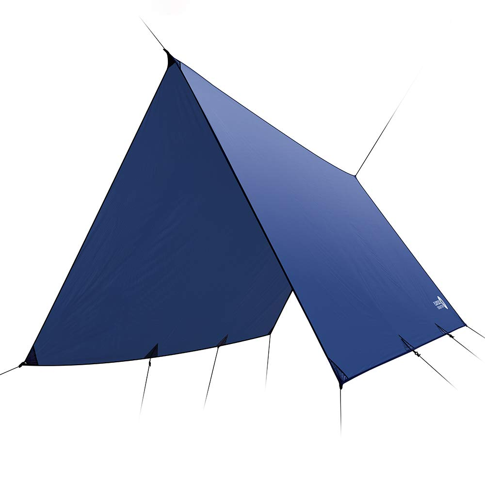 Easthills Outdoors Dragonfly Ultralight Waterproof Ripstop Silnylon Rain Fly Shelter Tarp, Guy Line and Stake Kit - Perfect for Hammocks, Camping and Backpacking Flat Cut Blue (12 ft x 10 ft - 25 oz) by Easthills Outdoors
