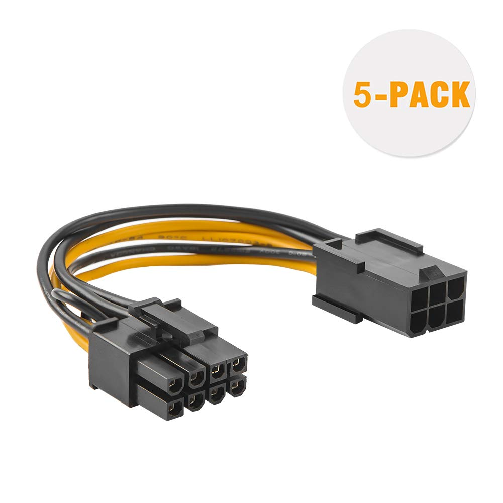 Pcie Adapter Cable, CableCreation 2-Pack 6-pin to 8-pin PCIe Express Power Adapter Cable, 4 Inches/10CM CS0127