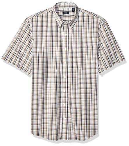 - Arrow 1851 Men's Big and Tall Hamilton Poplins Short Sleeve Button Down Plaid Shirt,  Quiet Gray, X-Large Tall