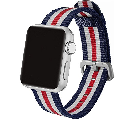 - Woven Nylon Fabric Wrist Strap Replacement Band with Classic Square Stainless Steel Buckle for Apple Watch iWatch Series 1/2 / 3/4,Sport & Edition,(Blue&Red&White, 38mm 40mm)