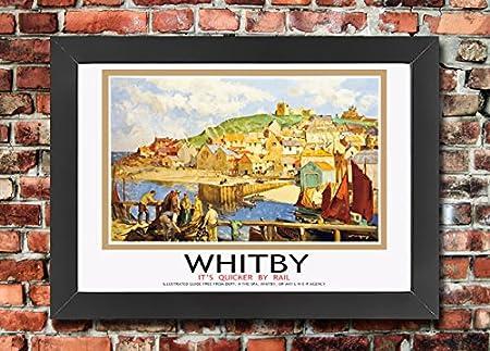 TU2 Vintage Whitby Yorkshire LNER Railway Travel Framed Poster Re-Print A3//A4